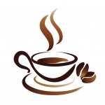 sketch of coffee cup, stylized vector icon